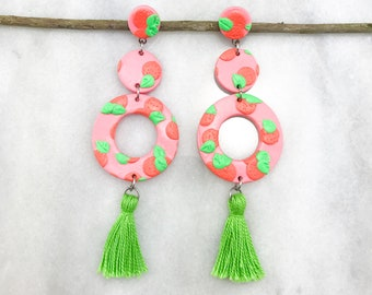Polymer clay earrings, statement earrings, push back, polymer clay, dangle earrings, drop earrings, clay, Woman, Girl, Trendy