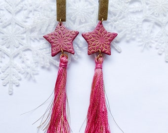 Dangle stud statement earrings, star earrings, tassel earrings, light earrings, trendy, on trend