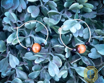 Natural stone Tiger's eye hoops