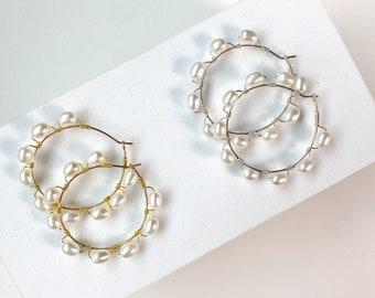 Oval Pearl Hoops, Gold pearl hoops, silver pearl hoops, beachy hoops