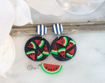 Womens, Summer Earrings, Easter, Handmade, polymer clay earrings, watermelon, summer, trendy, earring