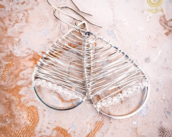 Wire woven dangle earrings