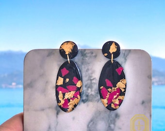 black earrings, Polymer clay earrings, clay earrings, statement earrings, large earrings, dangle earrings, drop earrings, clay,