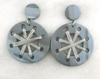 Hoops, Polymer Clay, clay, earrings, stone, Texas, Dangle, circle, earrings, earring, handmade, pushback