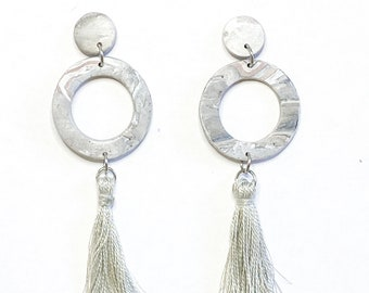 Polymer clay earrings, handmade, tassel, clay earrings, small earrings, dangle earrings, statement earrings, drop earrings, clay