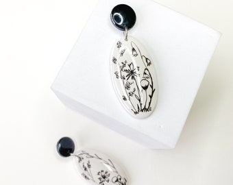 Black and white earrings clay, floral earrings, hand draw, earrings, dangle earrings, statement earrings, drop earrings, clay, pet, dog, cat