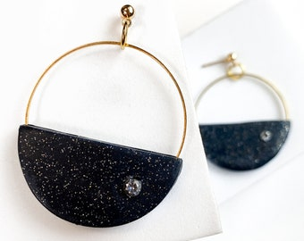 Half moon earrings, large half circle earrings, star Collection