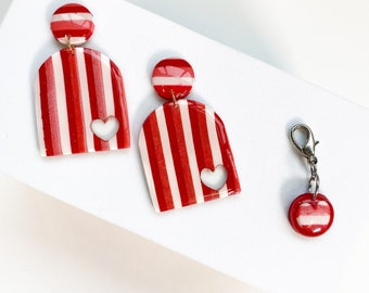 Valentines Day striped earrings