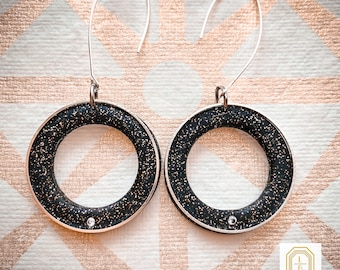 star hoop earrings, celestial earrings, zodiac earrings, handmade, halloween, dangle