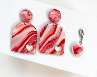Valentines Day Marble Earrings