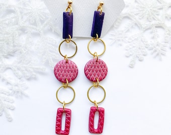 Dangle studs, jewel tone earrings, light weight, gold and pink earrings