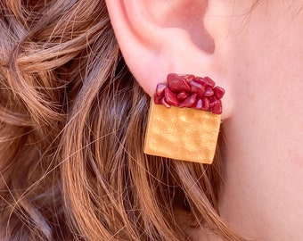 Gold and Red stud earrings, Gold earring studs, Arch stud earrings, arched clay earrings