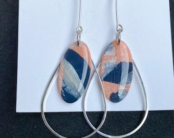 Tear drop dangle earrings, silver dangle earrings, peach, navy dangle earrings, mod earrings, mid century jewelry