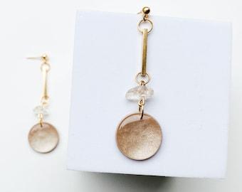 Gold dangles, champagne dangle earrings, wedding earrings, long drops