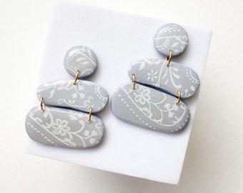 Gray Lace Earrings, hand drawn earrings, Duchess lace earrings, dangles,