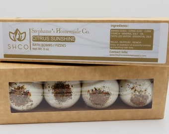 Pampering Bath Bombs | Set of 4 | Detox | Home Spa | Gift Box | Bath Fizzies | Bath Fizzy | Aromatherapy | Home Spa | Natural | Organic