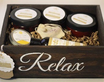 Relaxation Home Spa Set in Keepsake Wooden Crate | Gift Set | Care Package | Box | Organic | Bath and Body | Pampering