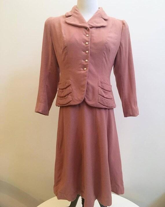 1940s Blush Pink Wool Suit