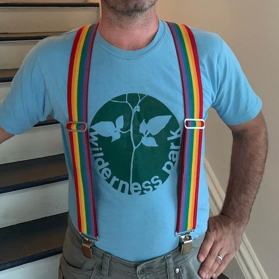 Vintage Rainbow Suspenders Adjustable Rainbow Str… - image 1