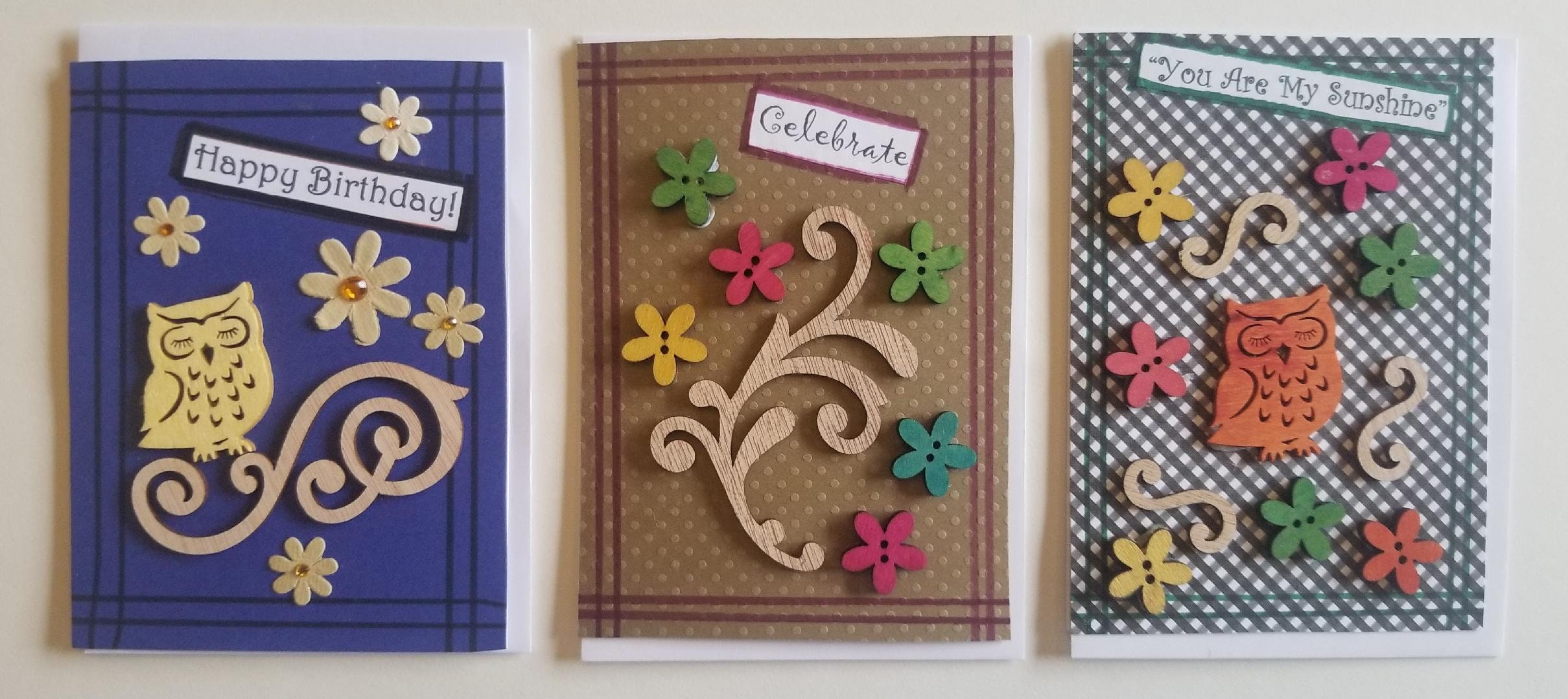 3 Handcrafted Greeting Cards