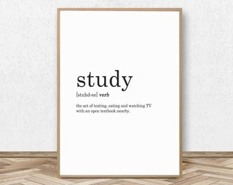 Study Definition Print Study Decor Student Gift Teen Print College Dorm Decor  Teen Decor College Wall Decor Teen Wall Art Dorm Poster
