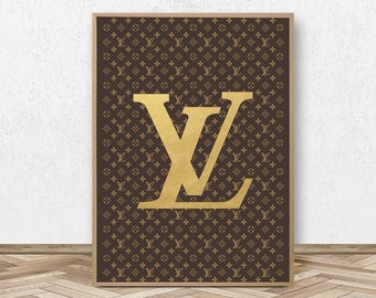 Louis Vuitton Print Fashion Print LV Monogram Louis Vuitton Inspired Louis Vuitton Poster Fashion Poster Gold Art Home Decor Wall Art Print