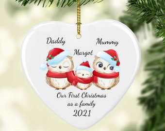 Personalised Owl Family Christmas Decoration | First Christmas Tree Bauble Hanging Ornament