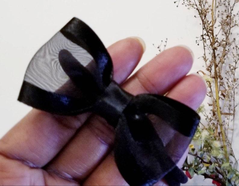 Black sheer bow Organza satin hair accessory Girl hair accessory Stocking stuffers Baby headband Sheer baby girl headband