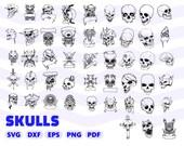 SKULLS SVG BUNDLE, skull clipart, sugar skull svg, svg cutting files, skeleton svg, svg designs, skull silhouette, skull outline, skull dxf