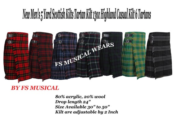 Belt Pin Buckle /& Kilt Fly Plaid Brooch New Men/'s 5 Yard Scottish Irish Tartan Kilt Mackanzie 13oz Highland Casual Kilt Sporran