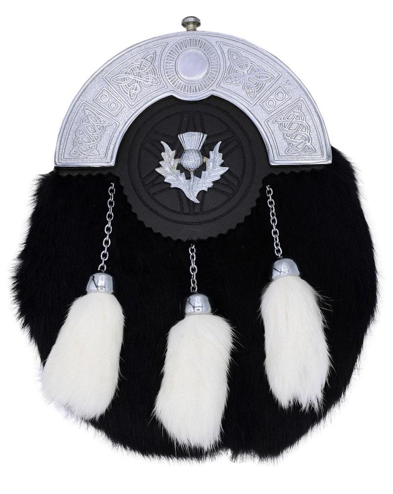 Thistle Badge and Chrome Cantle Scottish Black Sporran with White Tassels