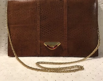 b1aa558fc3b7 Tano of Madrid Brown Leather Clutch or Shoulder Bag with Chain Strap