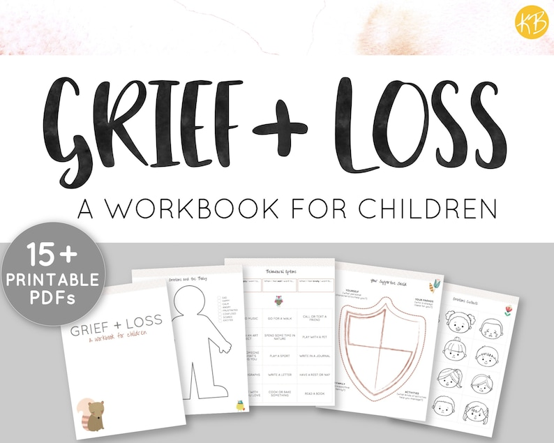 graphic about Printable Grief Workbook titled Grief + Reduction, Workbook for Kids