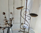 Stunning Chippy Rusty Antique Iron Metal Plant Stand Scroll Design S Scroll French Scroll Architectural Salvage Succulent plant stand