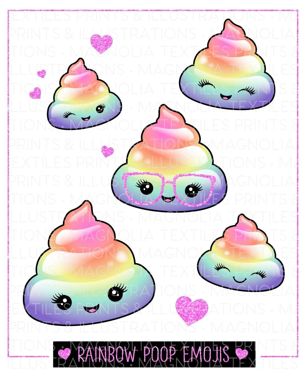 poop emoji cute rainbow printable emojis kawaii sticker character icons childrens artwork gift digital