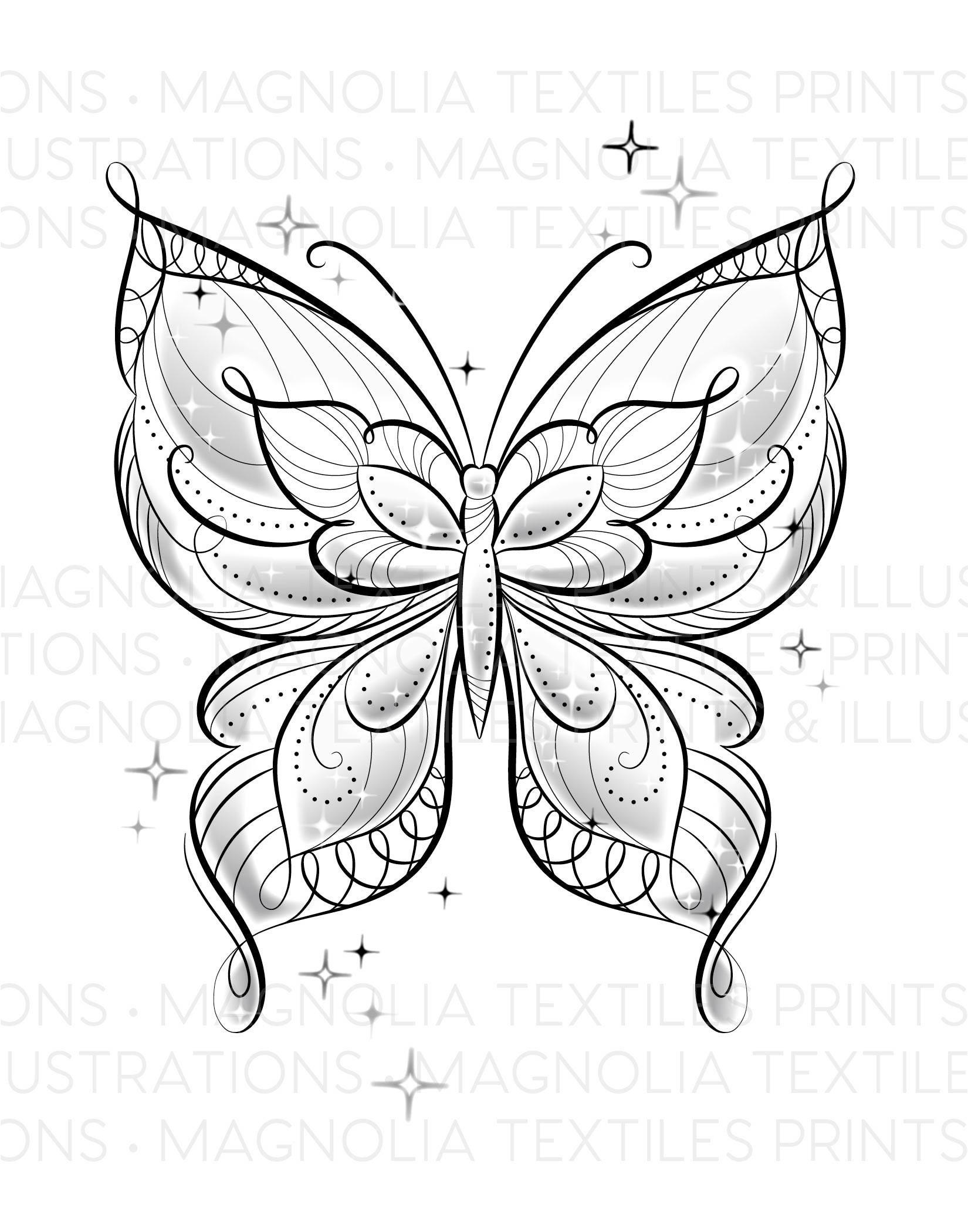 Black And White Butterfly Illustration Tonal Printable Digital