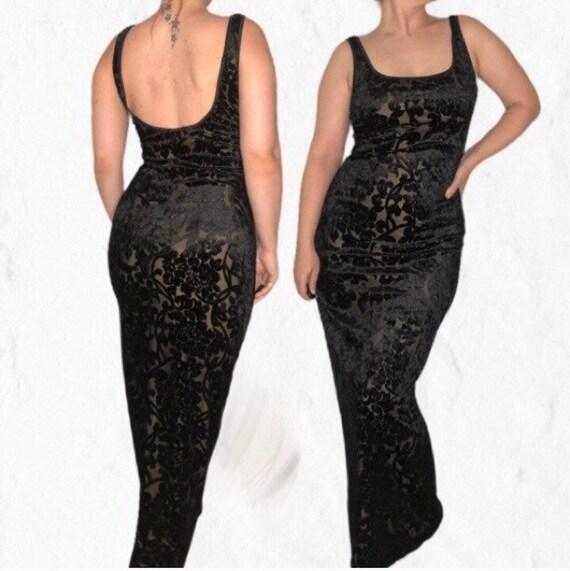 Vintage Velvet Brocade Maxi dress - Witchy dark wh