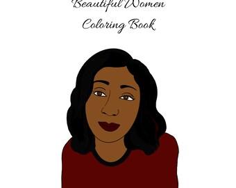 PDF printable digital Beautiful Women Coloring Book women line art to color