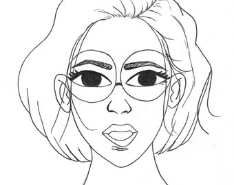 Copic coloring practice shading Girl with Glasses Coloring page for skintone markers