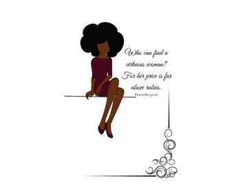 Digital Download Virtuous woman art print proverbs 31 fashion illustration