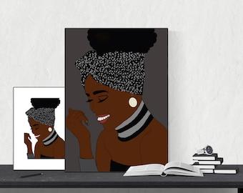 Headwrap collection, african print, black woman art, fashion art, afro hair