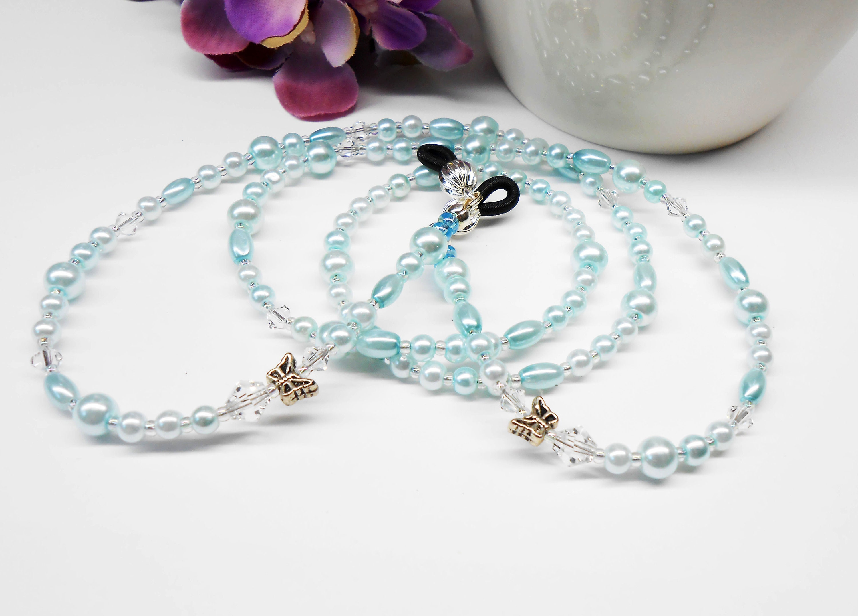 272c0448d0f Butterfly   Pearls Beaded Eyeglass Chain Eyeglass Holder
