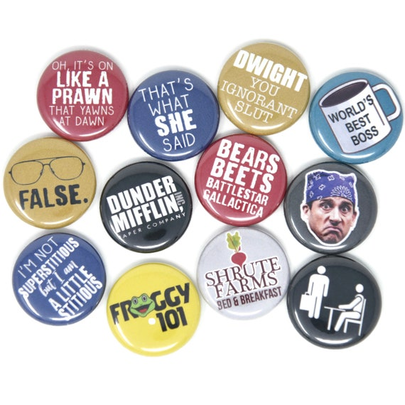 The Office, Set Of 12 1 Inch Pinback Buttons Or Magnets by Etsy