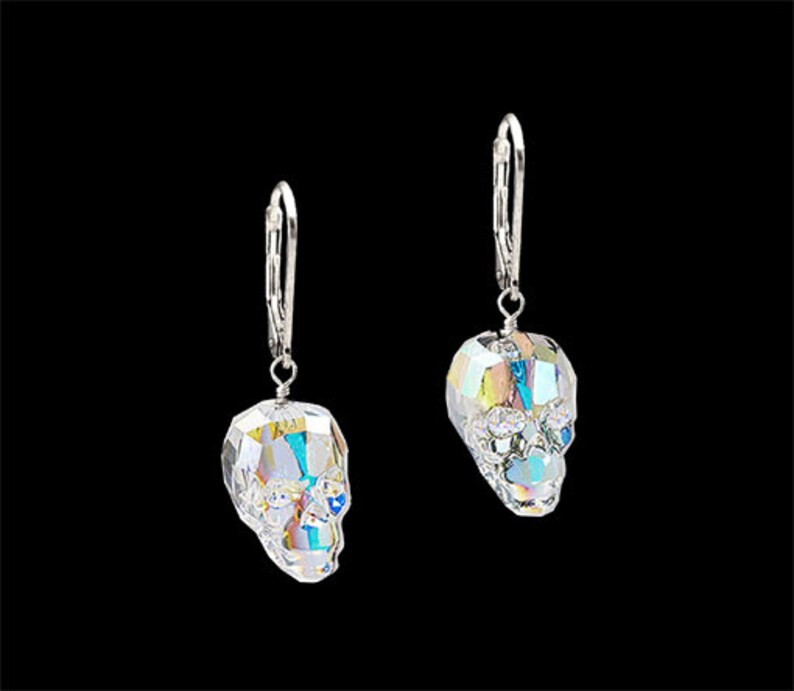 Swarovski SKULL Crystal AB dangle 925 sterling silver image 0