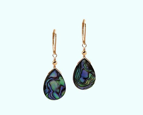 New Tear Drop Sea Shell Mother of Pearl Dangle silver 925 Earrings