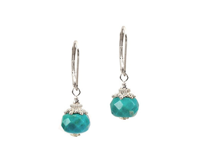 genuine Turquoise gemstone greenish blue  Bali dangle .925 sterling silver earrings or 14k yellow gold filled boutique jewelry gift