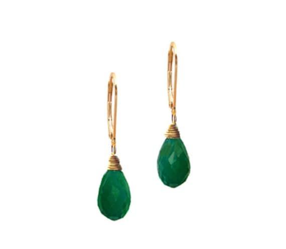 Genuine Green Onyx Gemstone Dangle Earring