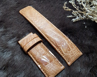 f546268a10e5 26mm Ostrich brown leather watch strap band for Submersible Luminor 44mm  47mm case