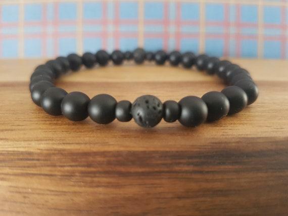 Inner Strength Moonstone Men/'s Emotional Healing Bracelet Self Confidence Matte Black Onyx Larvikite New Beginnings Energy Protection