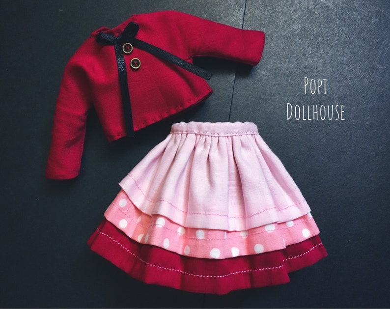 Stylish Tops Coat /& Red Miniskirt Business Outfits For Blythe Party Clothing